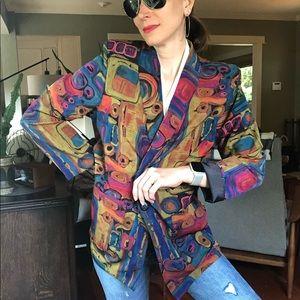 Vintage Jackets & Coats - Vintage 90s oversized bold abstract print blazer S